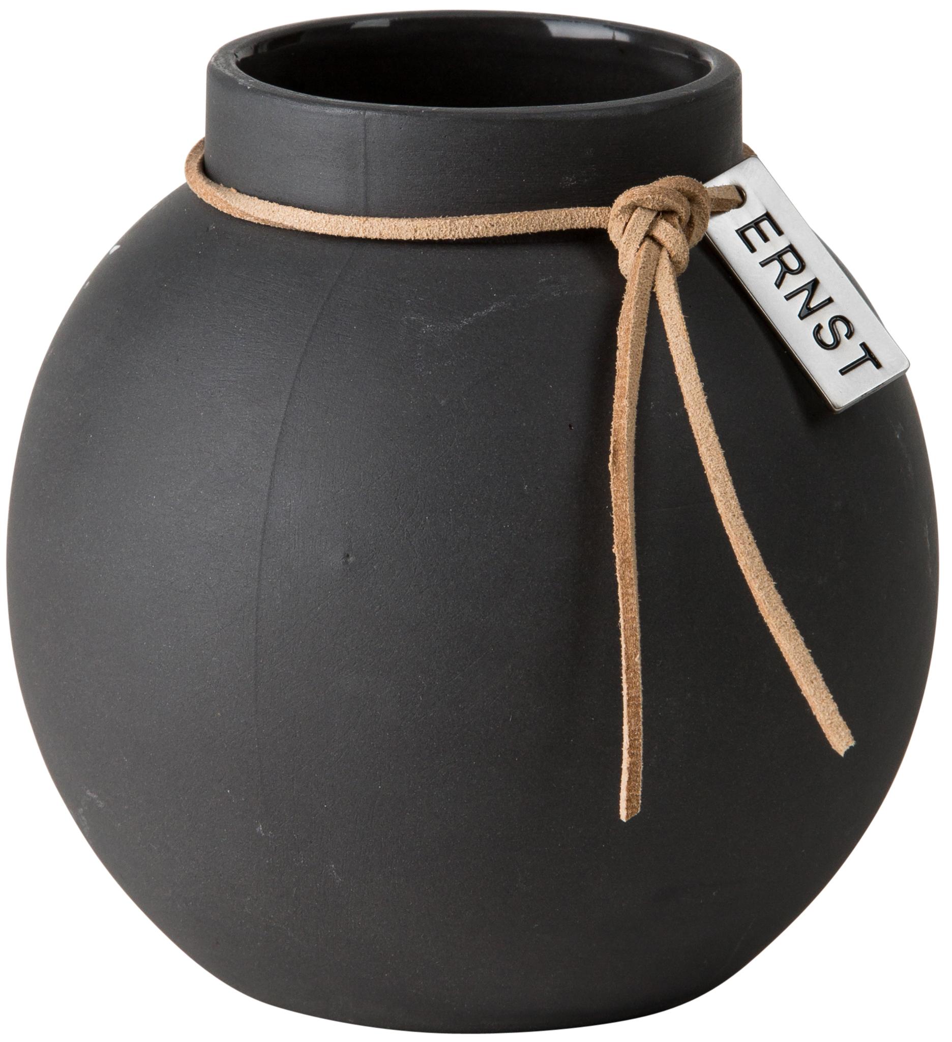 Vase Steingut rund ø 10 cm dunkelgrau - ERNST My Home and More