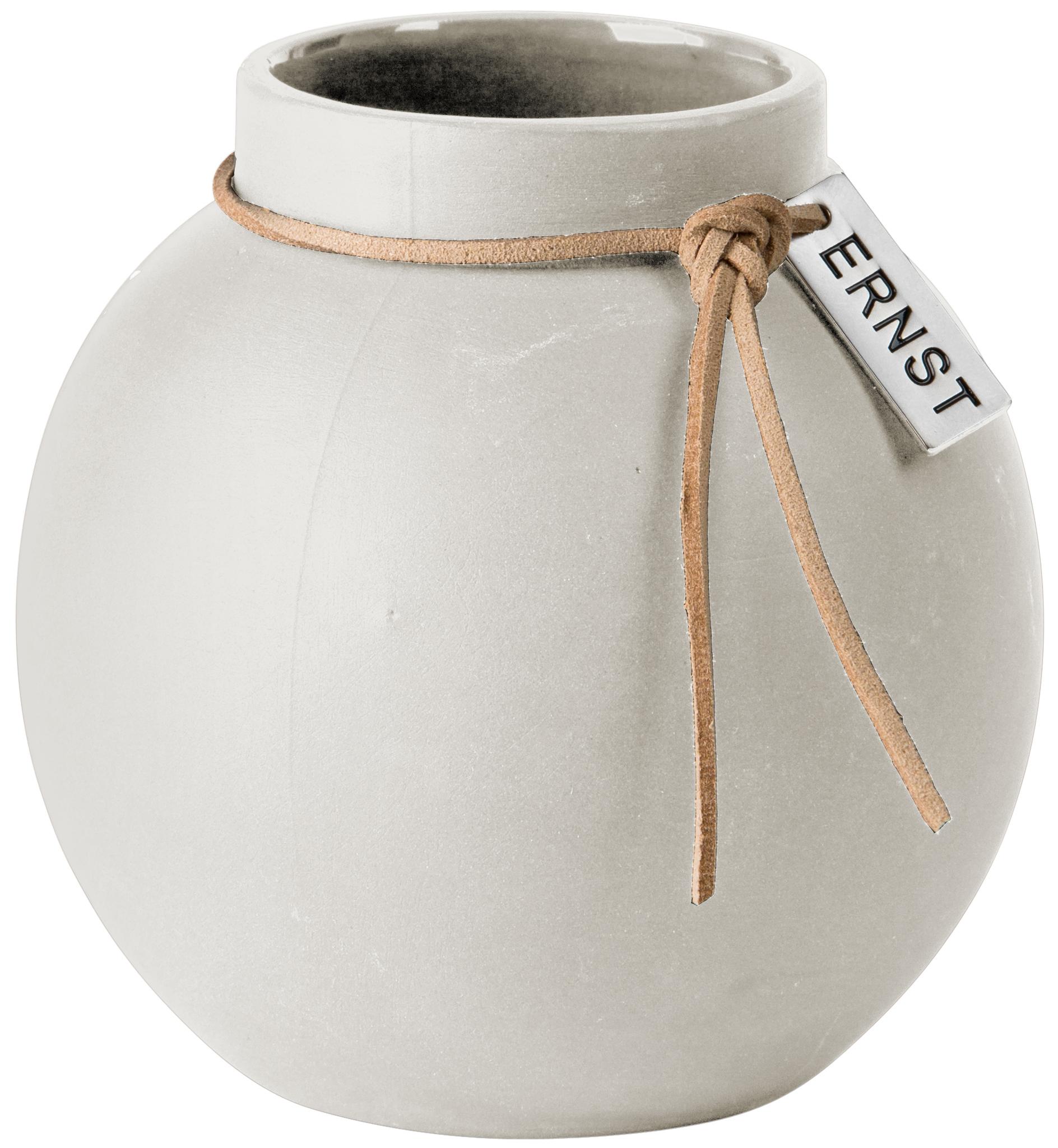 Vase Steingut rund ø 10 cm weiß - ERNST My Home and More