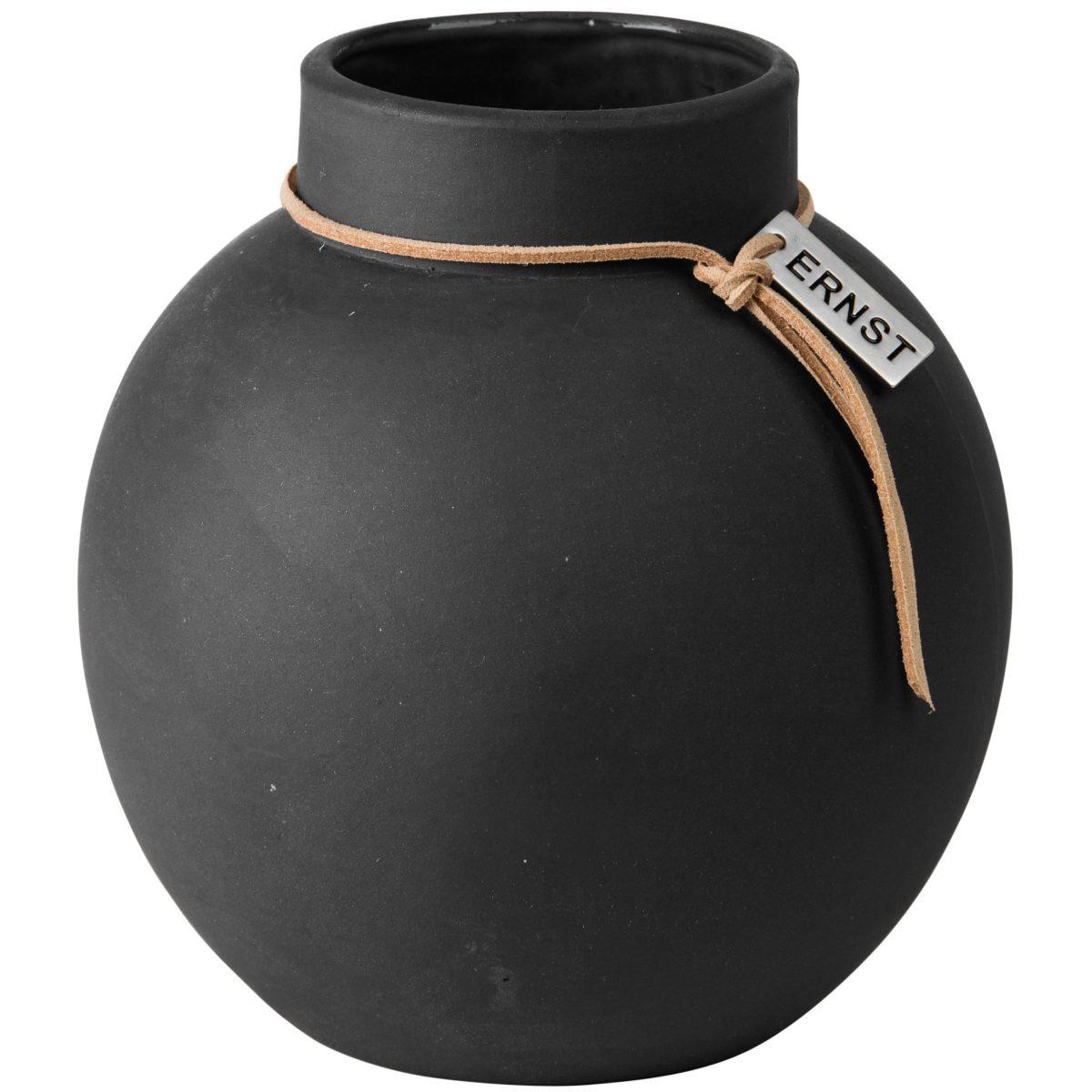 Vase Steingut rund ø22 cm dunkelgrau - ERNST My Home and More