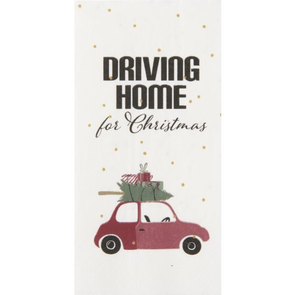 """Serviette """"Driving home for christmas"""" mit Auto"""