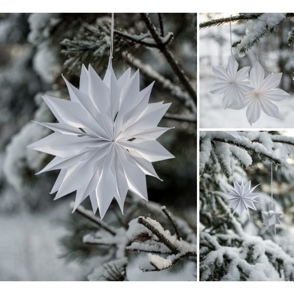 Weißer Papierstern für den Weihnachtsbaum