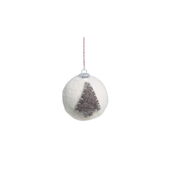 Weiße Weihanchtsbaumkugel mit grauem Weihnachtsbaum