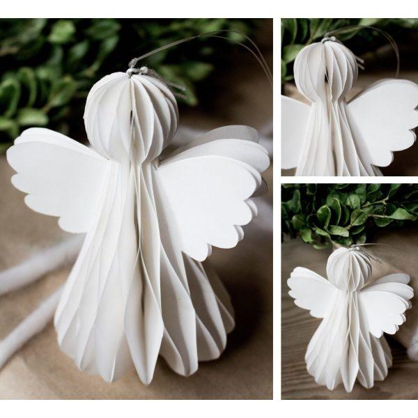 Weißer Papierengel für den Weihnachtsbaum zum hängen