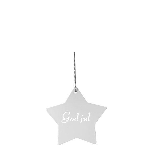 """Weißer Holzstern zum hängen """"God jul"""""""