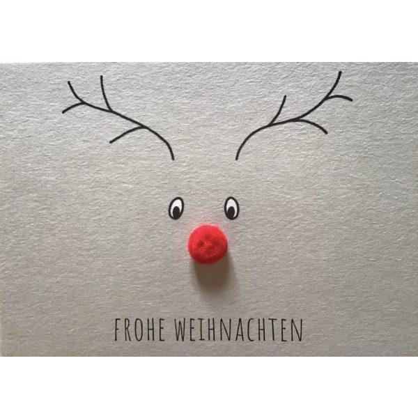 """""""Frohe Weihnachten"""" Matte mir Rehntier mit roter Nase"""