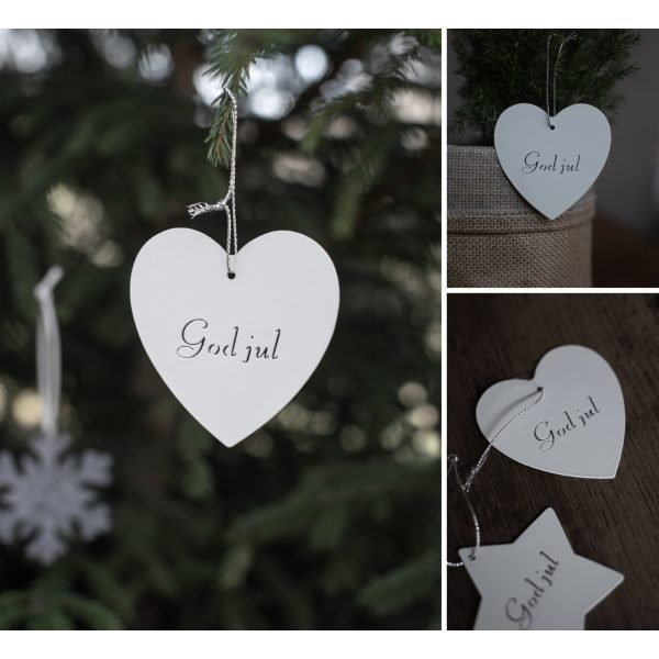 """Weißes Holzherz zum hängen """"God jul"""""""
