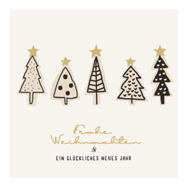 """Postkarte """"Frohe Weihnachten & ein glückliches neues Jahr"""" mit Weihnachtsbäumen"""