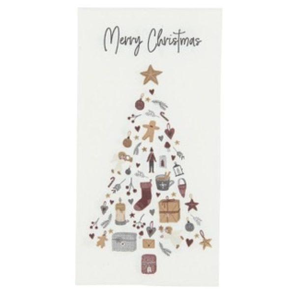 """Serviette """"Merry Christmas"""" mit Weihnachtsbaum"""