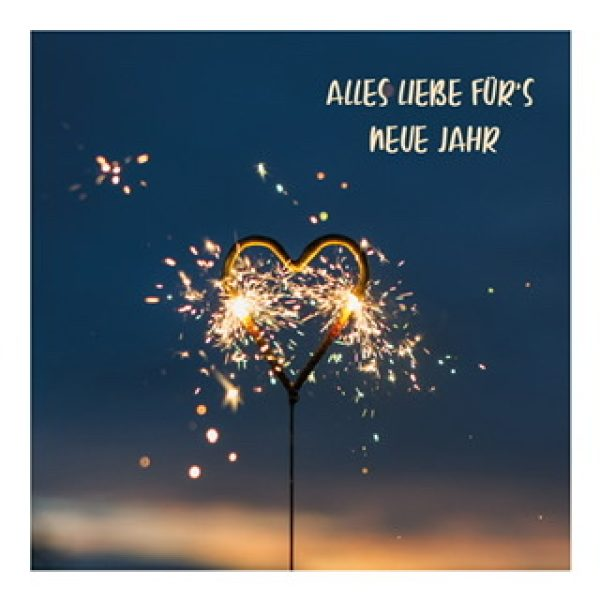 """Postkarte """"Alles Liebe für's neue Jahr"""" mit Herzwunderkerze"""