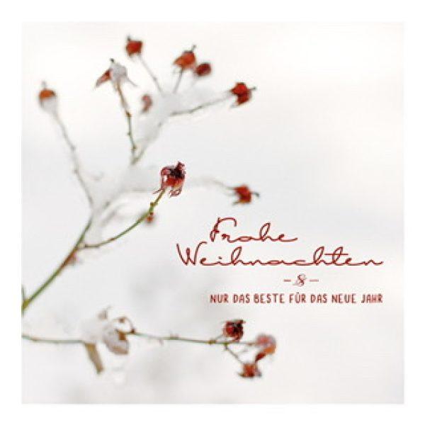 """Postkarte """"Frohe Weihnachten & Nur das beste für das neue Jahr"""" mit Blumenzweig"""