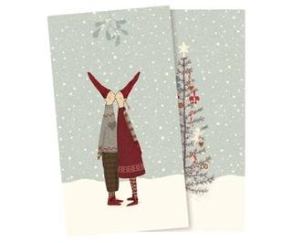 Serviette mit Wichtel und Weihnachtsbaum