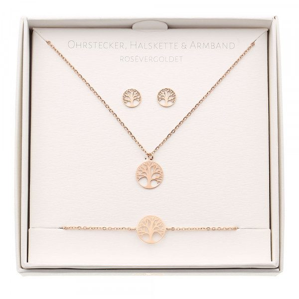 Geschenkset - Halskette-Armband-Ohrstecker - rosévergoldet - Baum des Lebens My Home and More