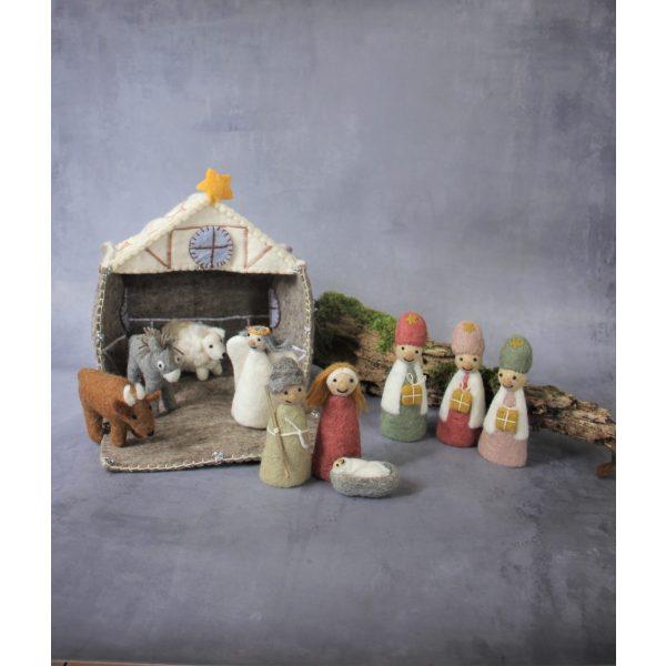 Krippenspiel von Jesus, Maria und Josef aus Stoff