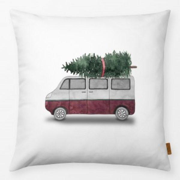 Outdoor- Kissen Bus mit Weihnachtstanne rot 40x40cm incl. Füllung Textilwerk www.myhomeandmore.de
